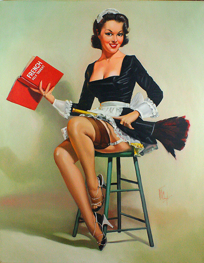 FRENCH MAID PIN-UP CALENDAR GIRL FEATHER DUSTER PHONE VINTAGE *CANVAS* ART PRINT