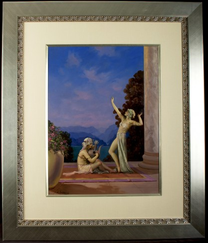 Framed and silk matted under glass in handsome Art Deco aesthetic gallery frame