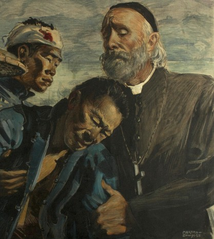 Detail of Father Valerian and wounded man