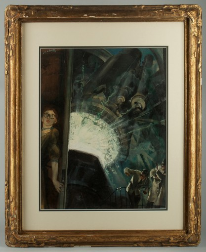 Framed view in period gold gesso ornate frame