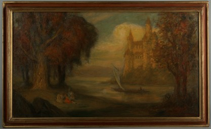 Framed view in original fine gesso period frame
