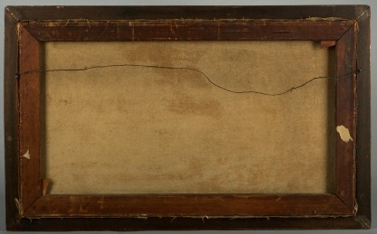 Verso view of old pine stretchers and canvas