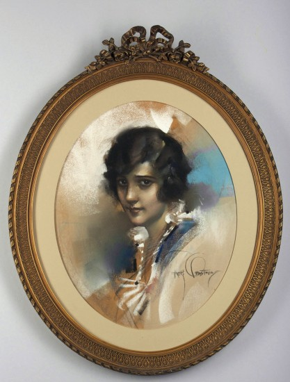 Framed view in oval period early 1900s gesso'ed frame