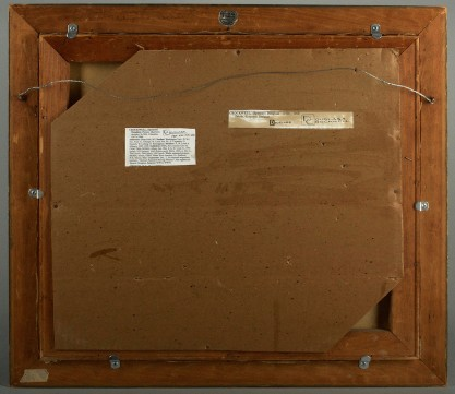 Verso view of old canvas and pine stretchers and notations