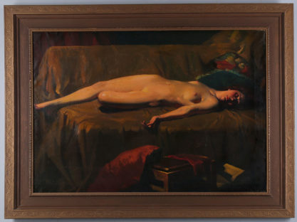 The nude in fabulous period gesso frame