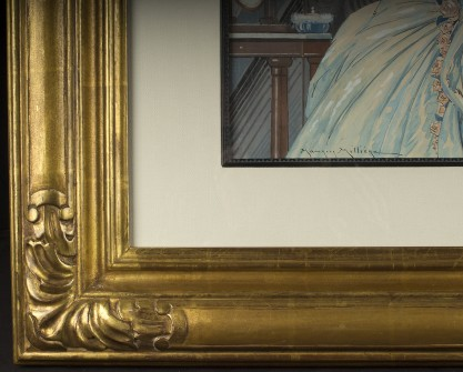 Frame corner profile and the artist's signature lower left