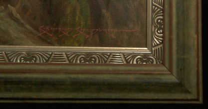 Frame profile and artist's signature lower right