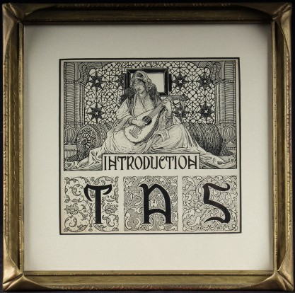 Framed and matted under glass in antique Art Nouveau pie crust gesso frame