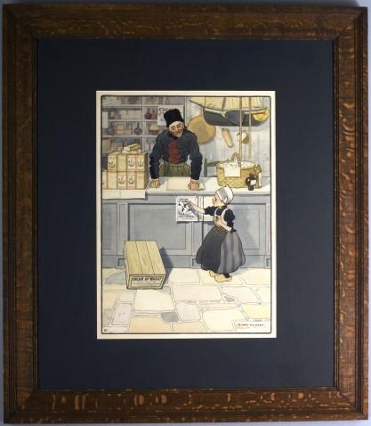 Framed and matted in Arts & Crafts quarter sawn oak antique frame
