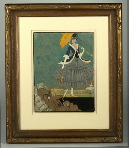 Framed view in art deco period antique frame