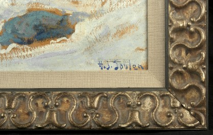 The artists signature and frame profile
