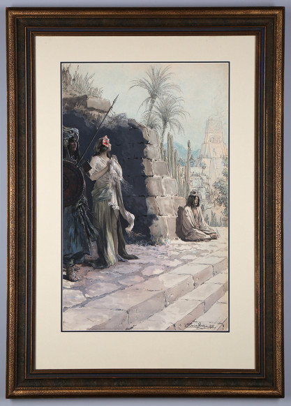 Framed and matted in period wide profile antique frame