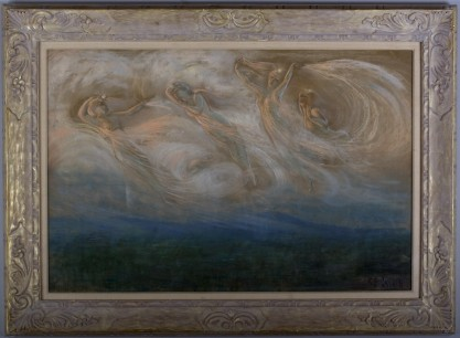 Framed view of pastel, housed in museum quality hand carved basswood frame