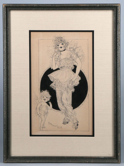 Framed and matted in silver gesso period frame