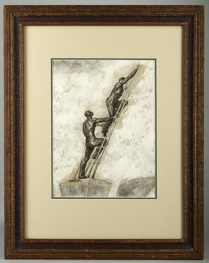 Framed in handsome antique gesso frame