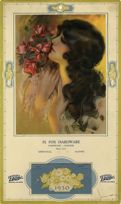 C. 1930 H. Fox Hardware Advertising calendar of Image included in sale
