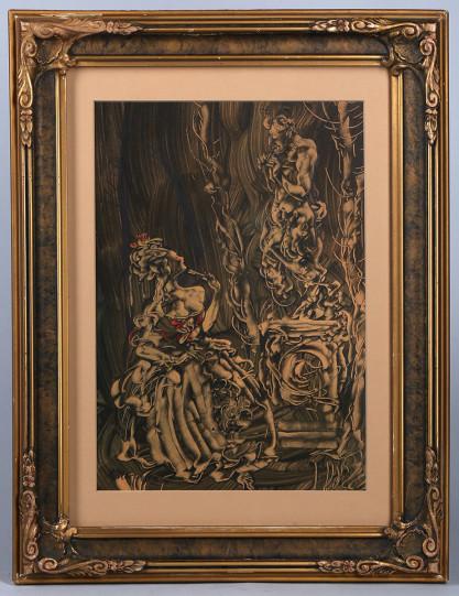 Framed in art nouveau aesthetic antique gesso frame