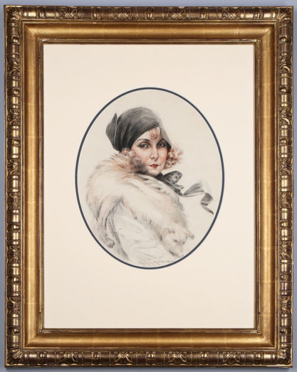 Framed view in wide profile carved museum quality gesso frame