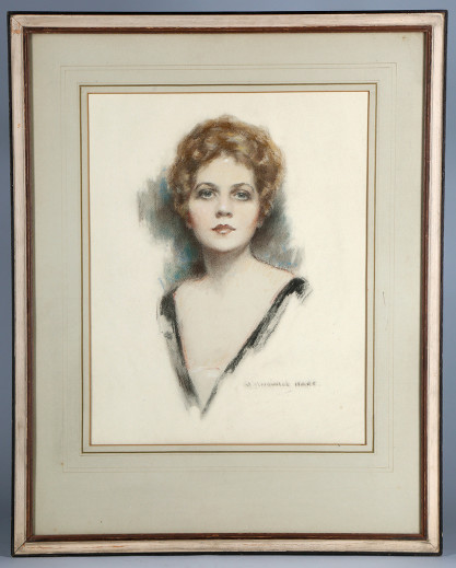 Framed and French matted behind glass in original frame