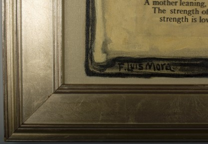 The artist's signature and frame corner profile lower left