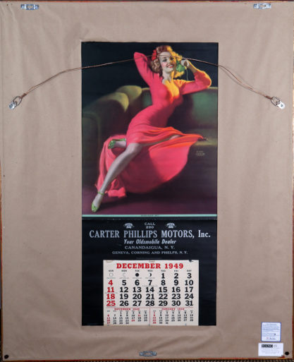 A large format published calendar is neatly housed on the verso
