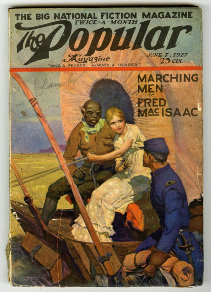 The artwork as it appeared as the cover of Popular Magazine June 1927, included with sale
