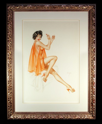 Framed and matted behind glass in handsome wood gallery frame