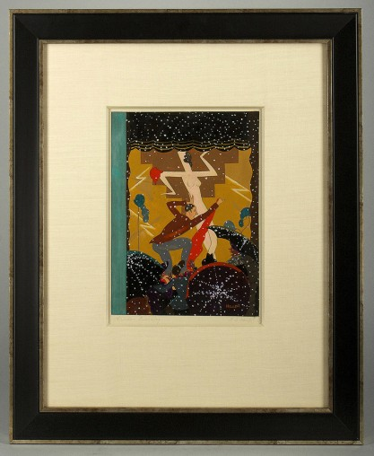 Framed and silk matted view behind glass in gallery frame