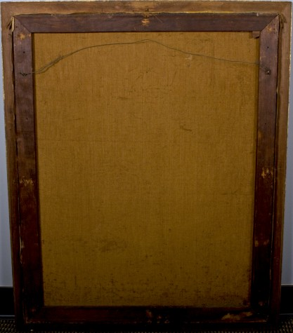 Verso view of untouched back canvas on original pine wood stretcher bars