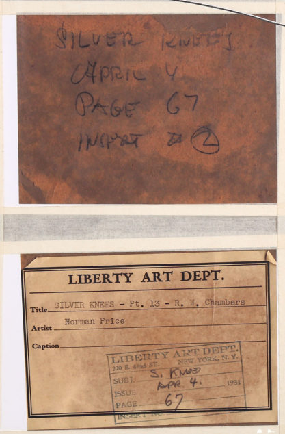 """Liberty Art label reads """"Silver Knees April 4th -Page 67"""""""