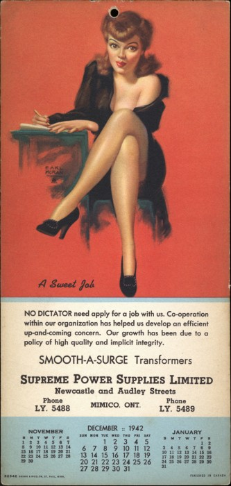 1942 Advertising Calendar Included In sale