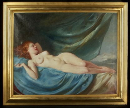 Framed view of reclining nude fine art oil painting