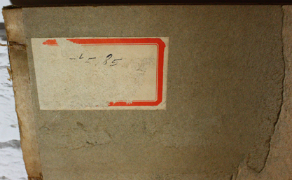 Verso label and notations