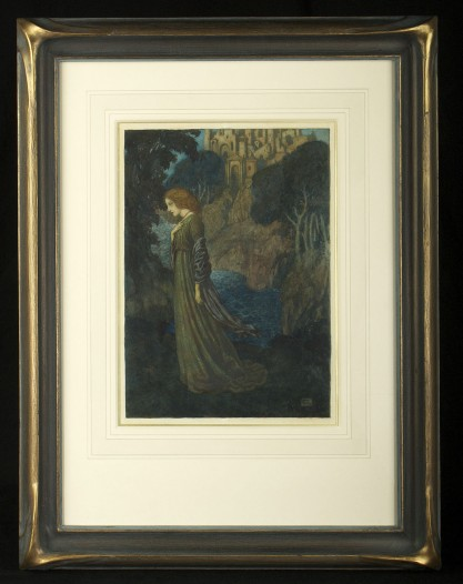 Framed and French matted behind glass in period Art Nouveau bat wing frame