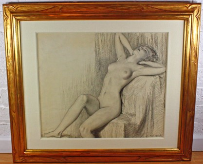 Framed and silk matted behind glass in carved gold gallery frame