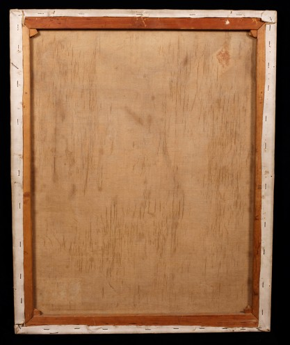 Verso view of untouched canvas on original pine stretchers