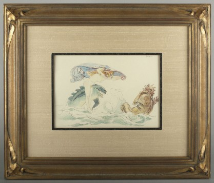 Silk lined and matted under glass in fabulous ornate hand carved basswood frame.