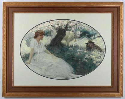 Framed in period wide profile gesso frame