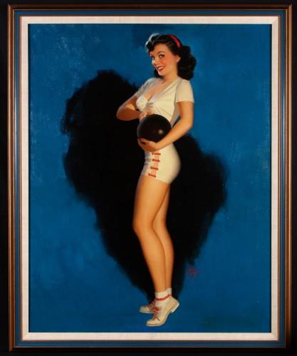 Full view of framed oil painting
