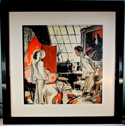 Framed and matted behind glass in simple black lacquered art deco frame