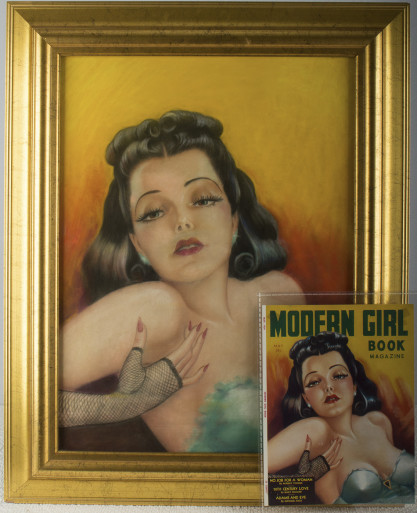 Framed and properly lined under glass with tear sheet of cover (included in sale).