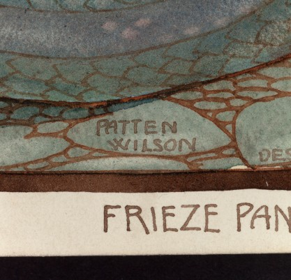 """View of text in artist's hand in lower margin """"Frieze Panel"""""""