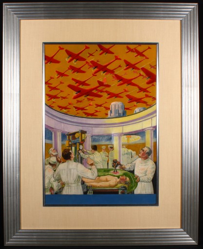 Framed and silk matted behind glass in handsome art deco gallery frame