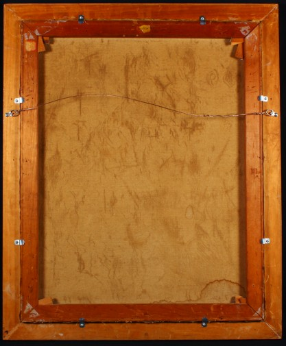 verso view of canvas on original pine stretchers