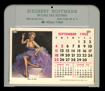 The image as it appeared in calendar (included in sale) - September 1955