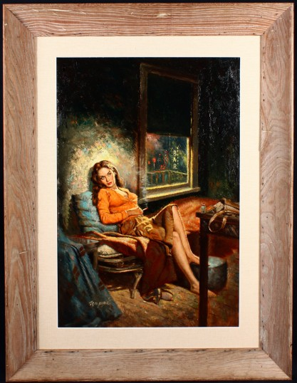 Framed view in vintage mid-century bleached  worm wood retro frame