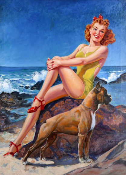 Full view of large pin-up cover painting