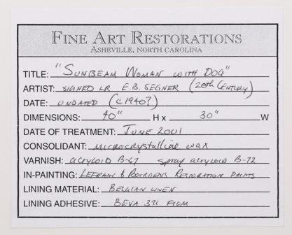 Conservation label on back--work performed in 2001
