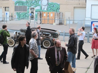 VIsitors admire the classic cars.