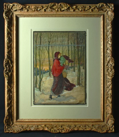 Framed and matted behind glass in period antique ornate plaster frame